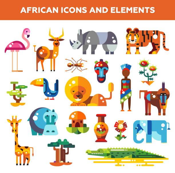 illustrazioni stock, clip art, cartoni animati e icone di tendenza di set di icone di design piatto africa e infografica elementi con - woman portrait forest