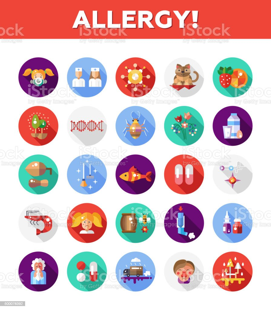 Set of flat design allergy and allergen icons, infographics elements vector art illustration
