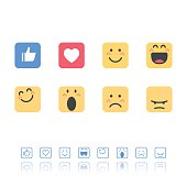 Set of flat design and line art emoticons