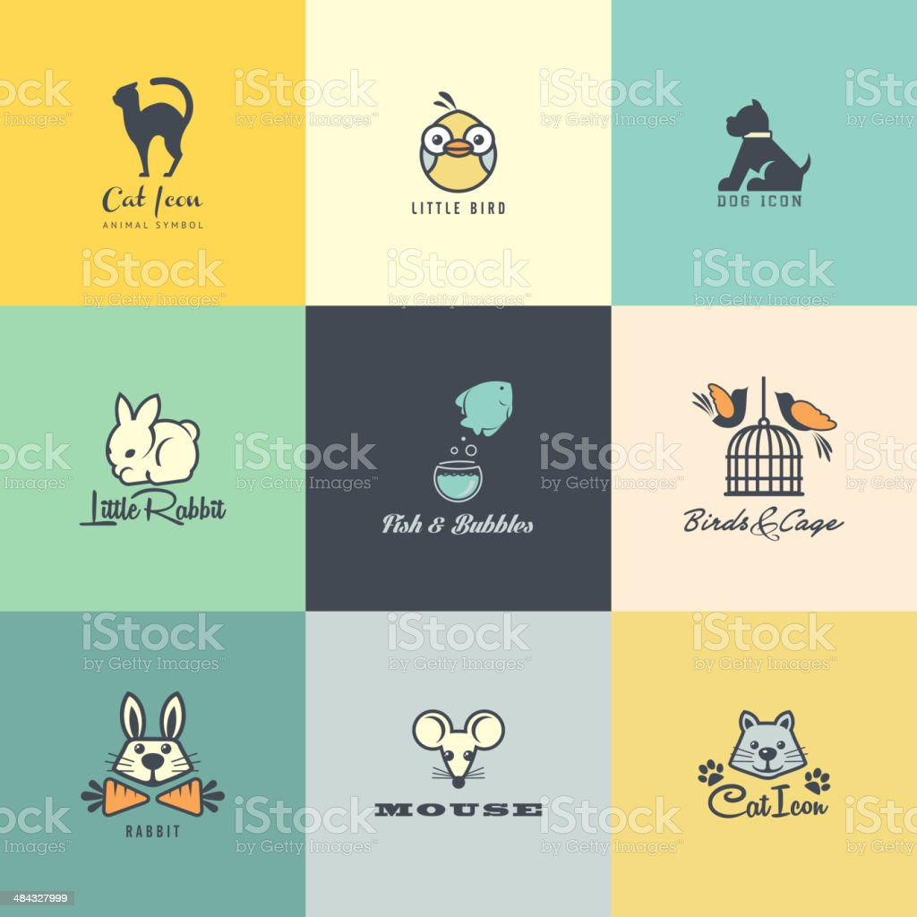 Set of flat design animal icons vector art illustration