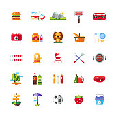 Set of vector flat design barbecue and summer picnic icons and infographics elements
