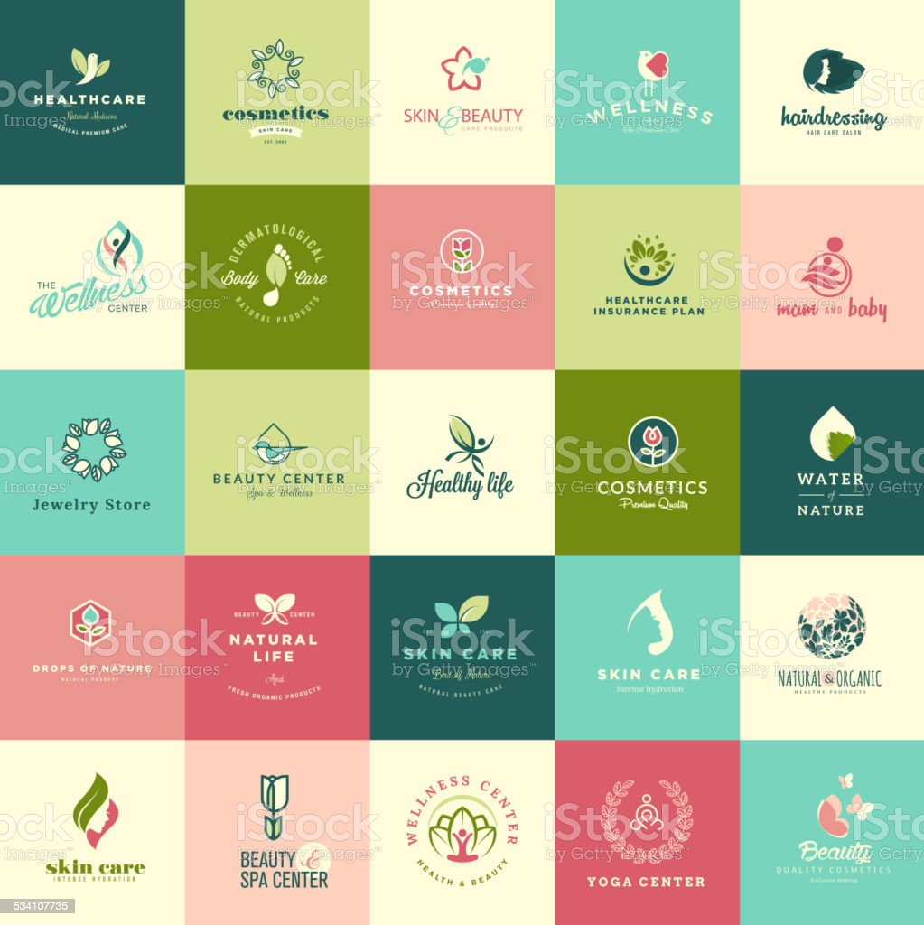 Set of flat design beauty and nature icons vector art illustration