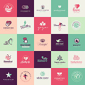 Set of vector flat design beauty icons