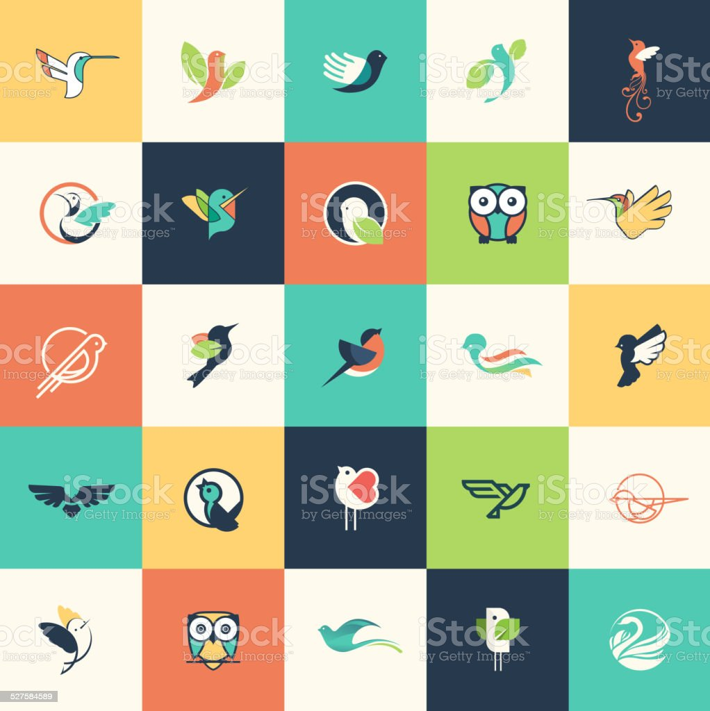 Set of flat design bird icons vector art illustration