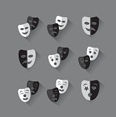 Set of flat design black and white theatrical masks.