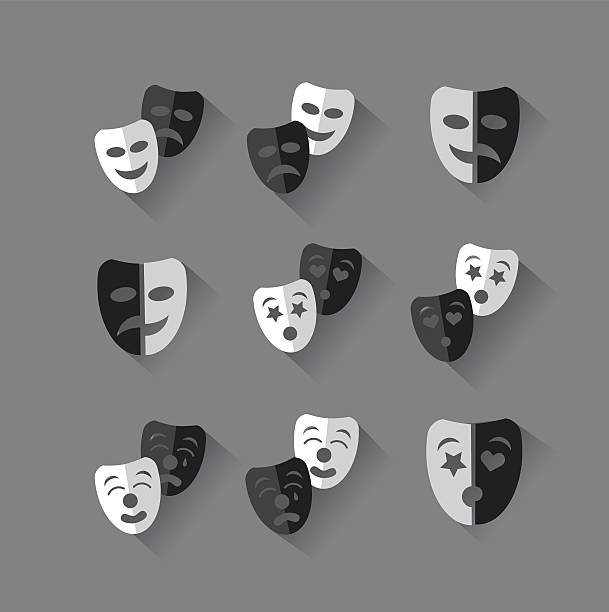 set of flat design black and white theatrical masks. - mardi gras cartoons stock illustrations, clip art, cartoons, & icons