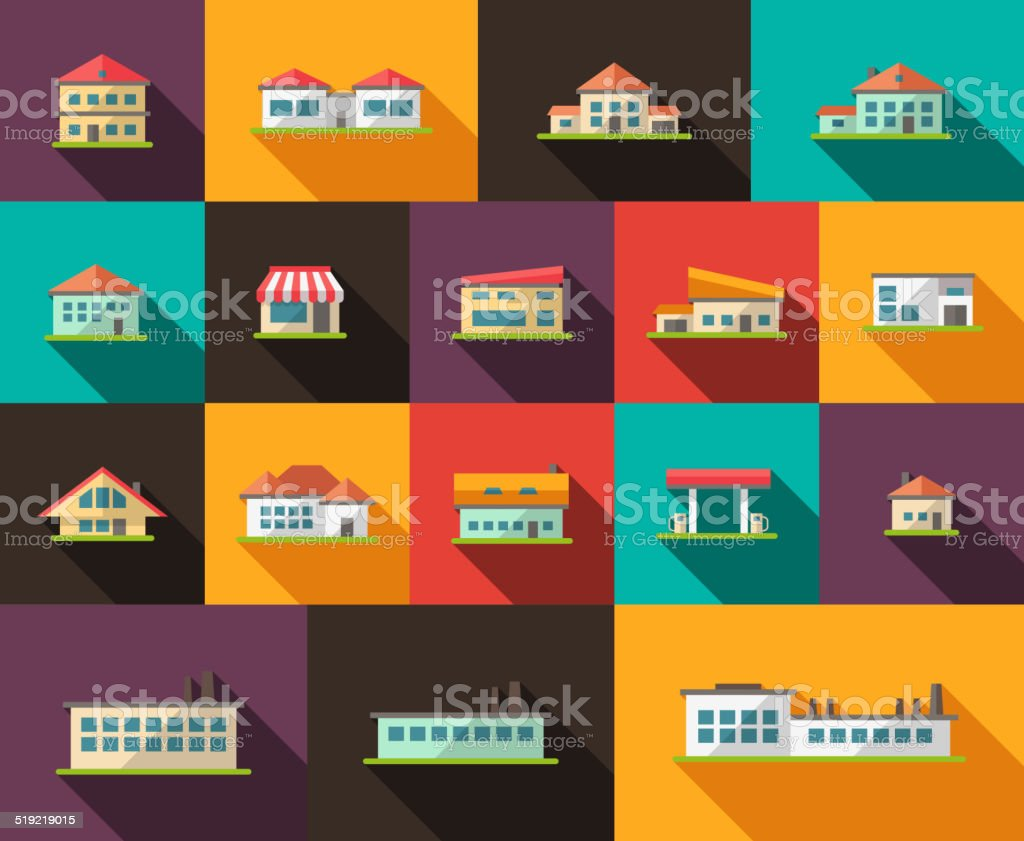 Set of flat design buildings pictograms vector art illustration