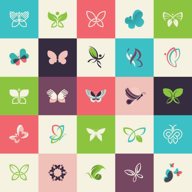 Conjunto de iconos de diseño plano de mariposa - ilustración de arte vectorial
