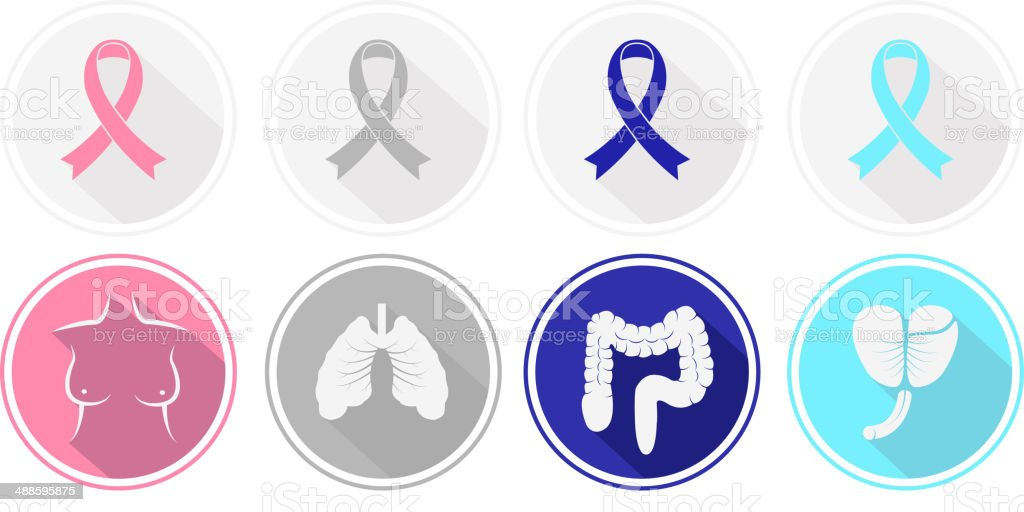 Set of flat design Cancer and human organ icons. vector art illustration