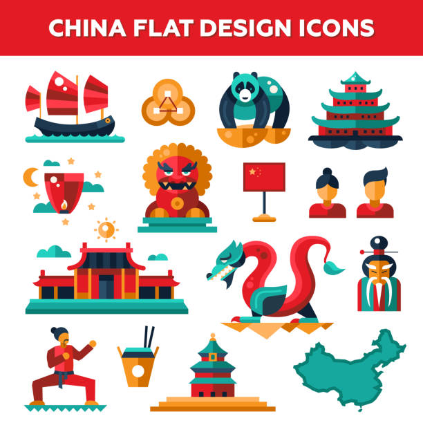 set of flat design china travel icons, infographics elements with - asia travel stock illustrations, clip art, cartoons, & icons