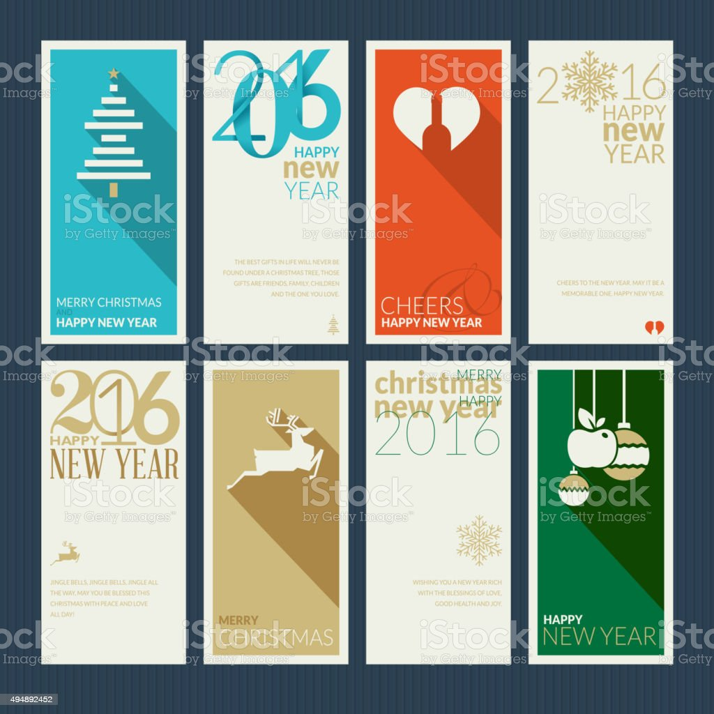 Set of flat design christmas and new year greeting cards stock set of flat design christmas and new year greeting cards royalty free set of flat m4hsunfo Image collections