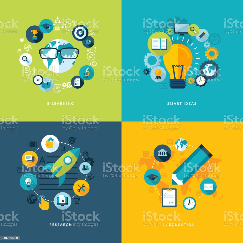 Set of flat design concept icons for education vector art illustration
