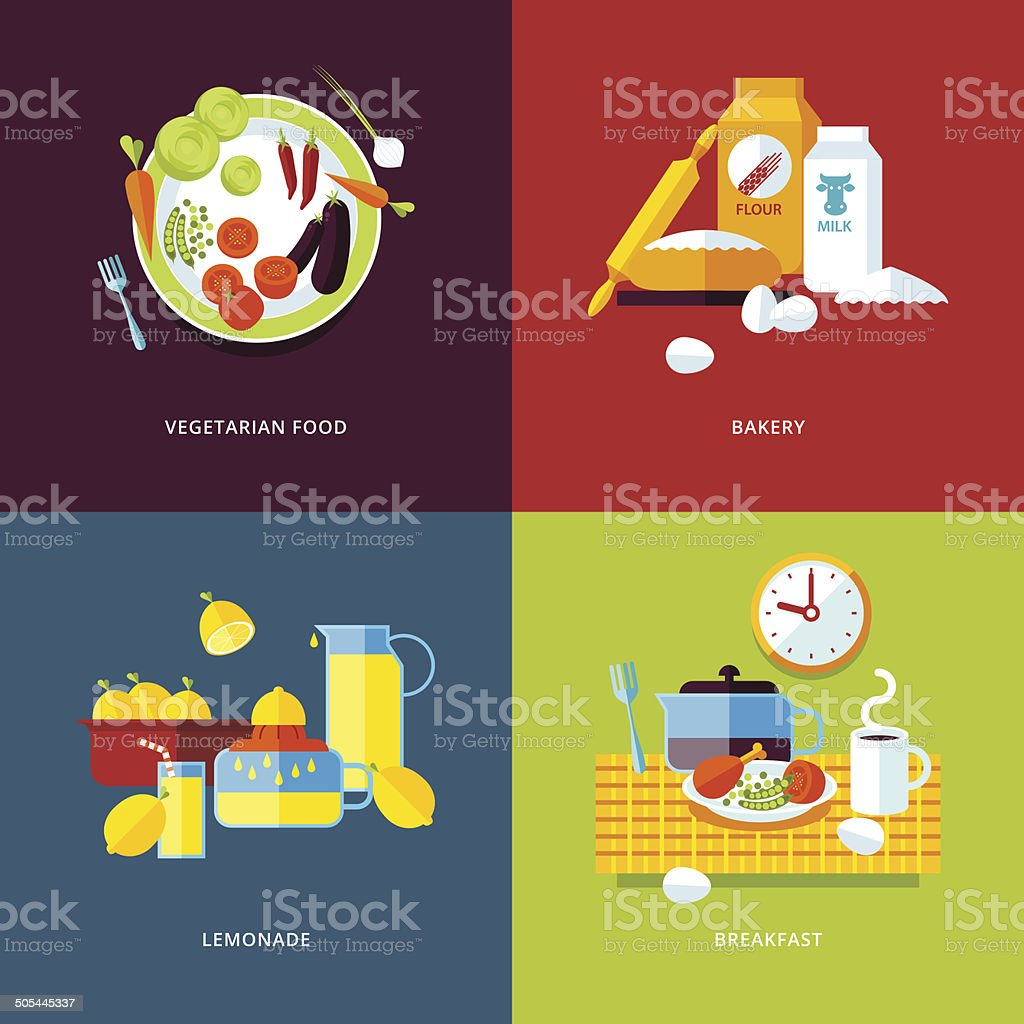 Set of flat design concept icons for food and drinks. royalty-free stock vector art