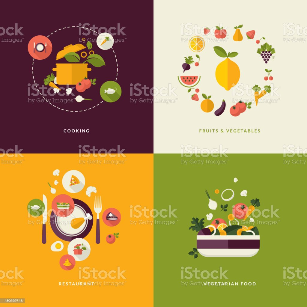Icons for cooking, fruits and vegetables, restaurant and vegetarian...
