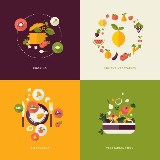 一連のフラットなデザインコンセプトアイコンのお料理とレストラン - ベジタリアン料理点のイラスト素材/クリップアート素材/マンガ素材/アイコン素材