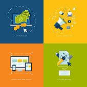Icons for pay per click internet advertising, digital marketing, responsive web design and graphic design.