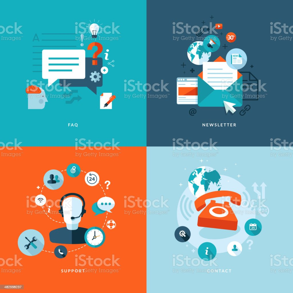 Set of flat design concept icons for online services vector art illustration