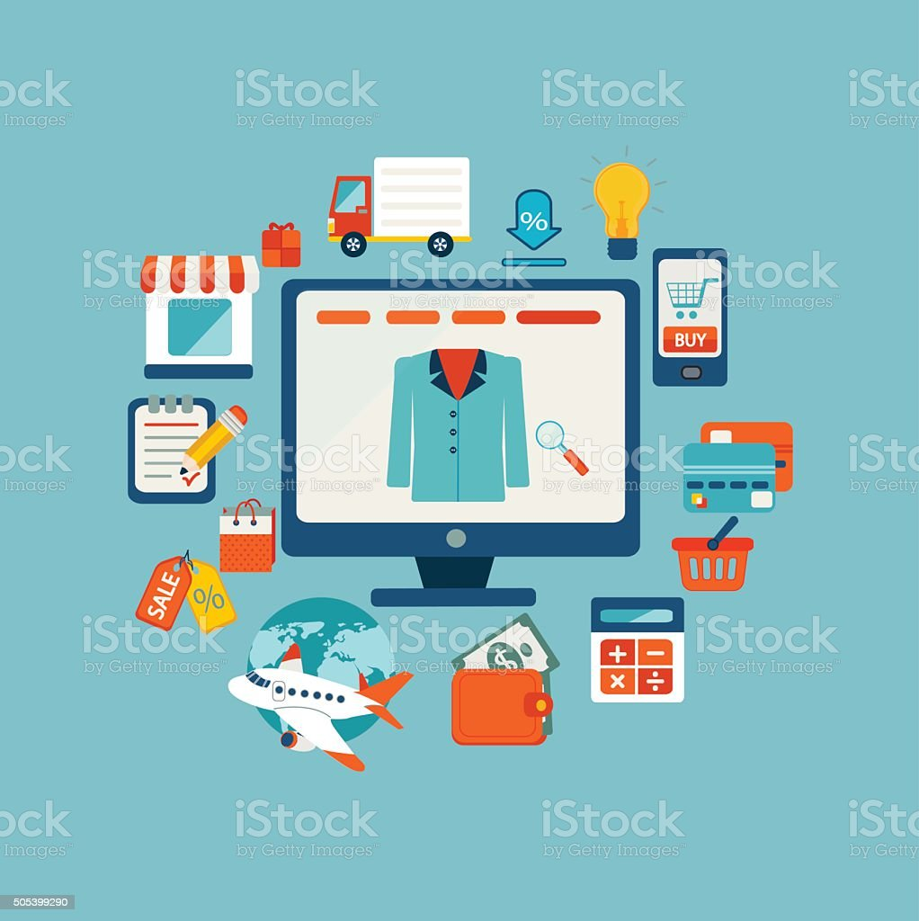 Set of flat design concept icons for online shopping. vector art illustration