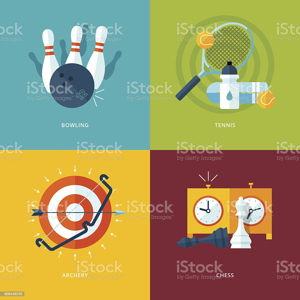 Set of flat design concept icons for sports kinds. vector art illustration