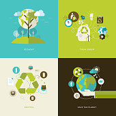 Set of flat design concept icons on ecology theme