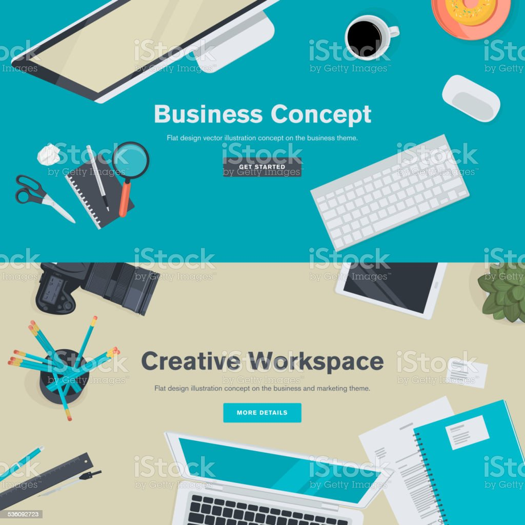 Set of flat design concepts for business and creative workspace vector art illustration