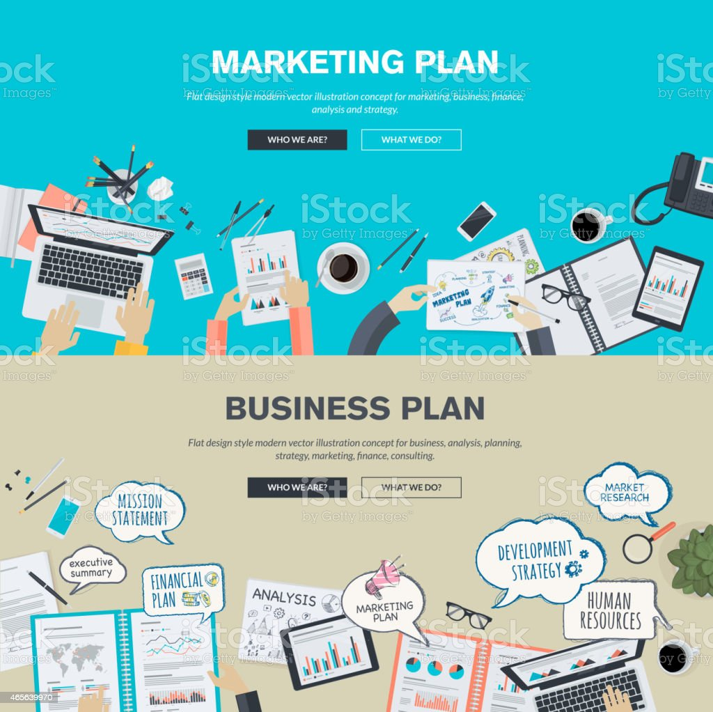 Set of flat design concepts for business and marketing plan vector art illustration