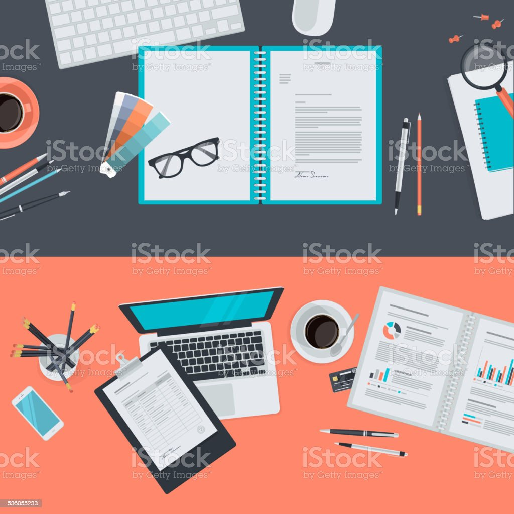Set of flat design concepts for creative project, business vector art illustration