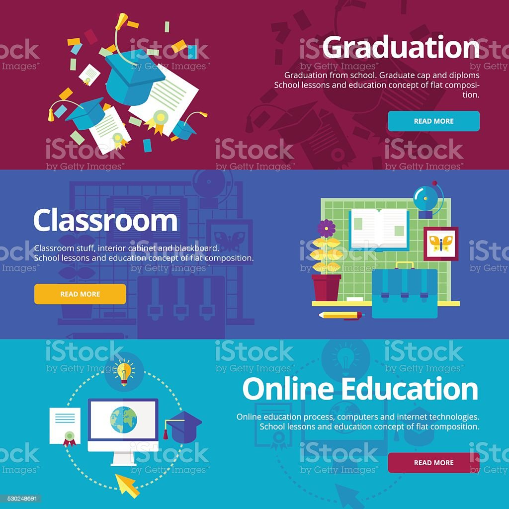 Set Of Flat Design Concepts For Graduation Classroom Online Education Royalty Free