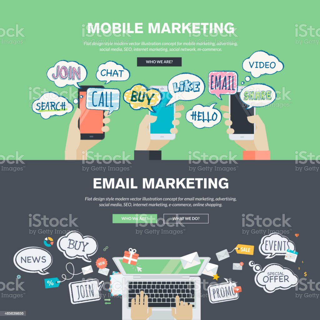 Set of flat design concepts for mobile and email marketing vector art illustration