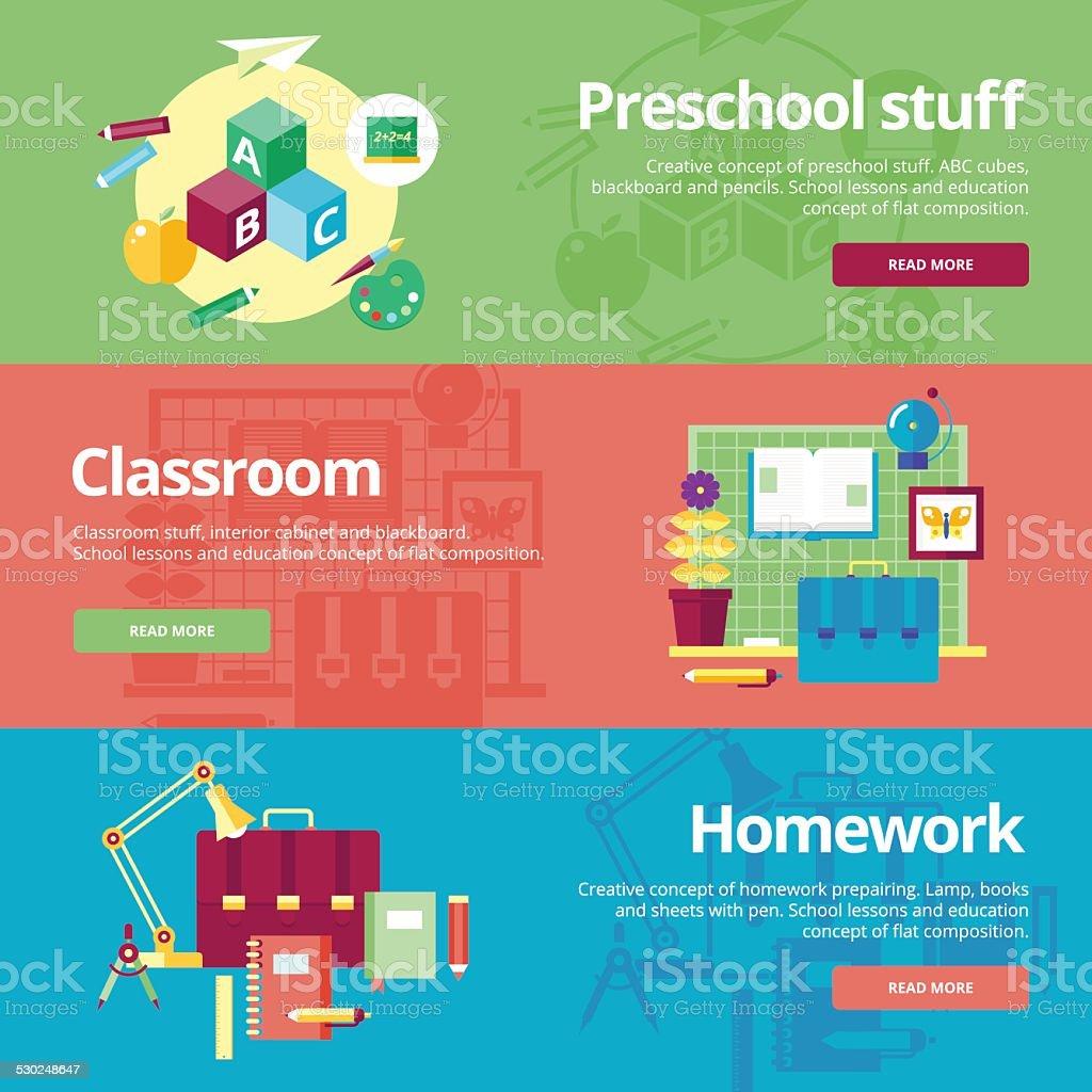 Set of flat design concepts for preschool, classroom and homework. vector art illustration