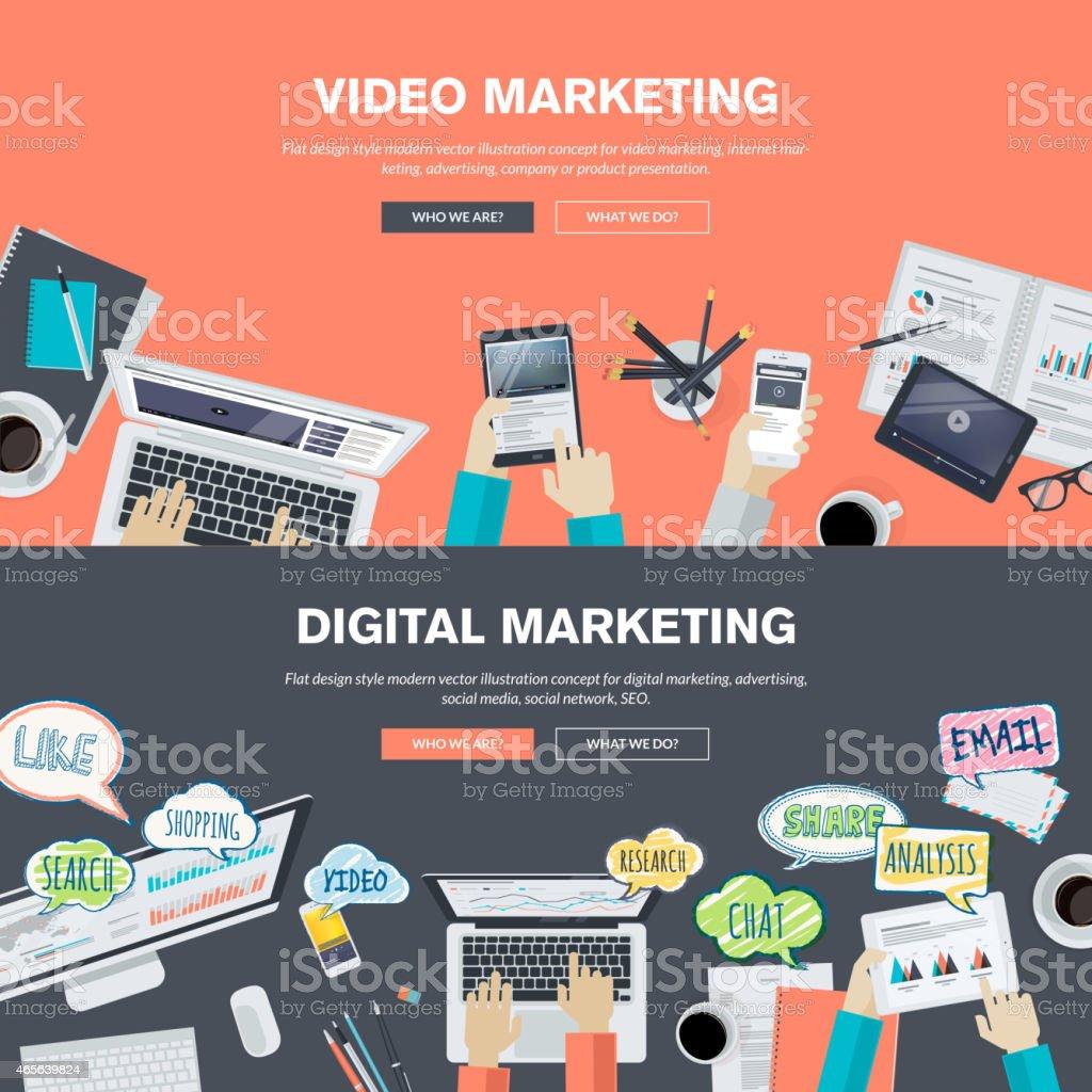 Set of flat design concepts for video and digital marketing vector art illustration