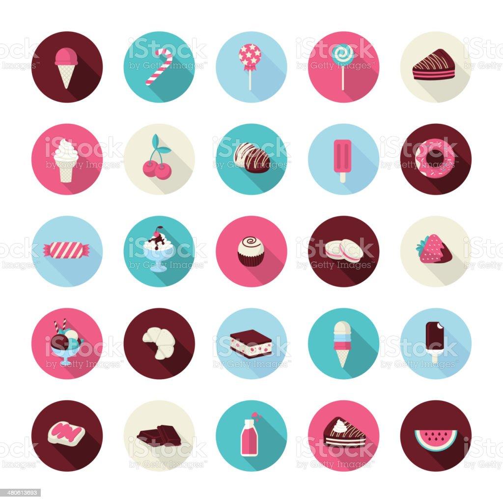 Set of flat design dessert icons vector art illustration