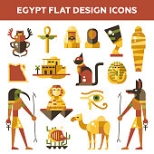 Set of flat design Egypt travel icons, infographics elements with