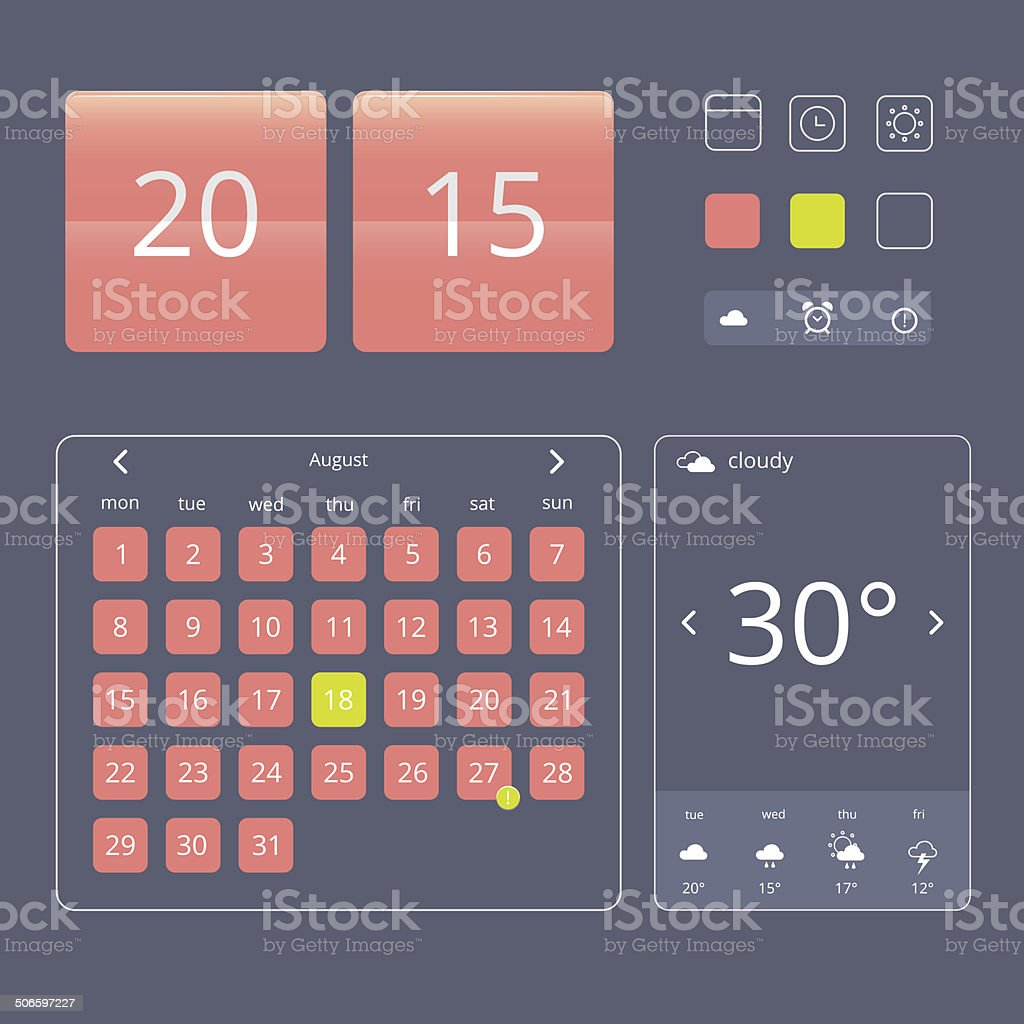 Set of flat design elements, widgets and icons royalty-free stock vector art