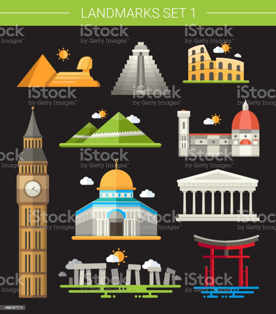 Set of flat design famous world landmarks icons vector art illustration
