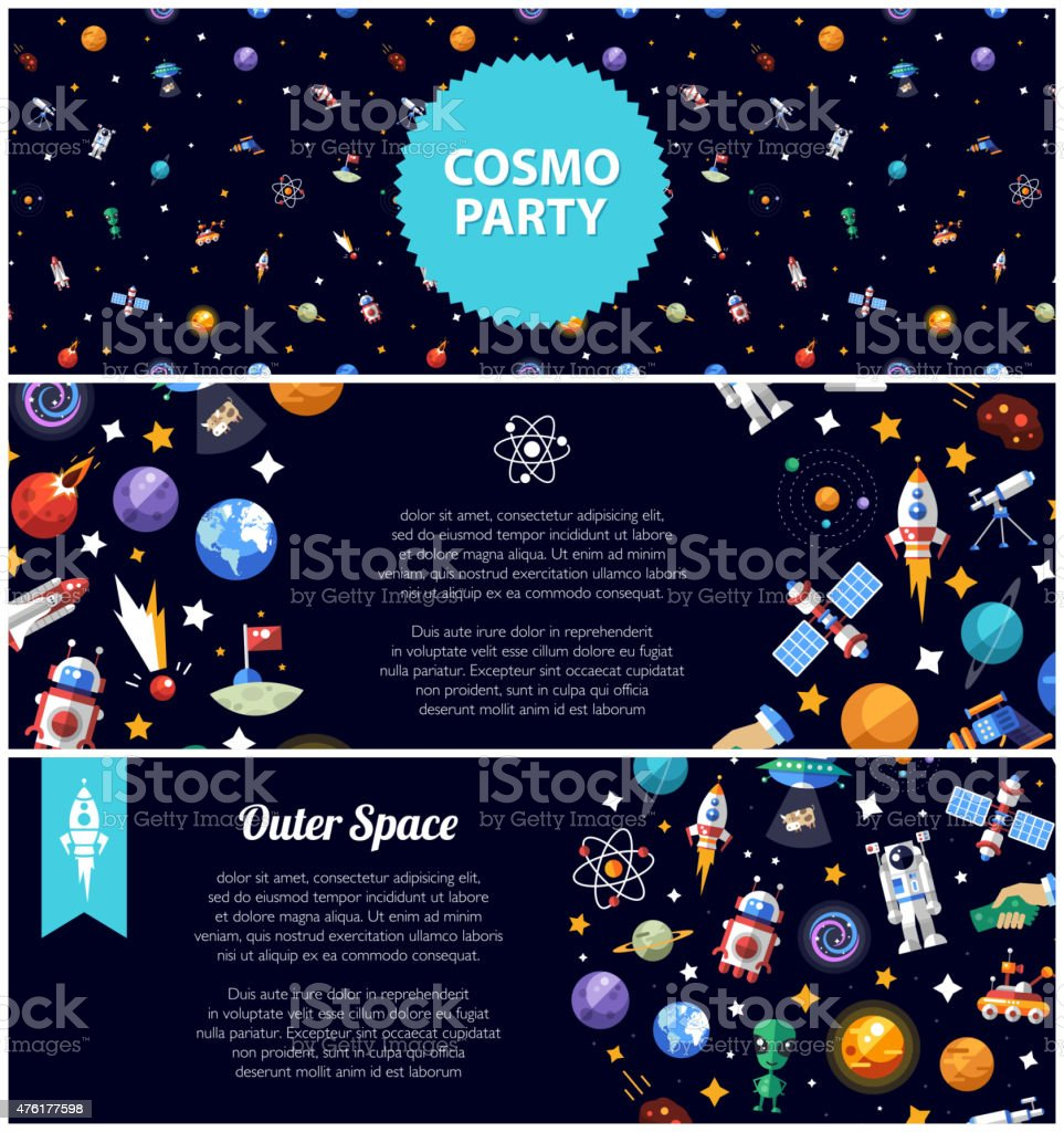 Set of flat design flyers with space icons and infographics vector art illustration
