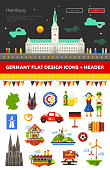 Set of flat design Germany travel icons, infographics elements with