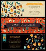 Set of flat design Halloween card templates