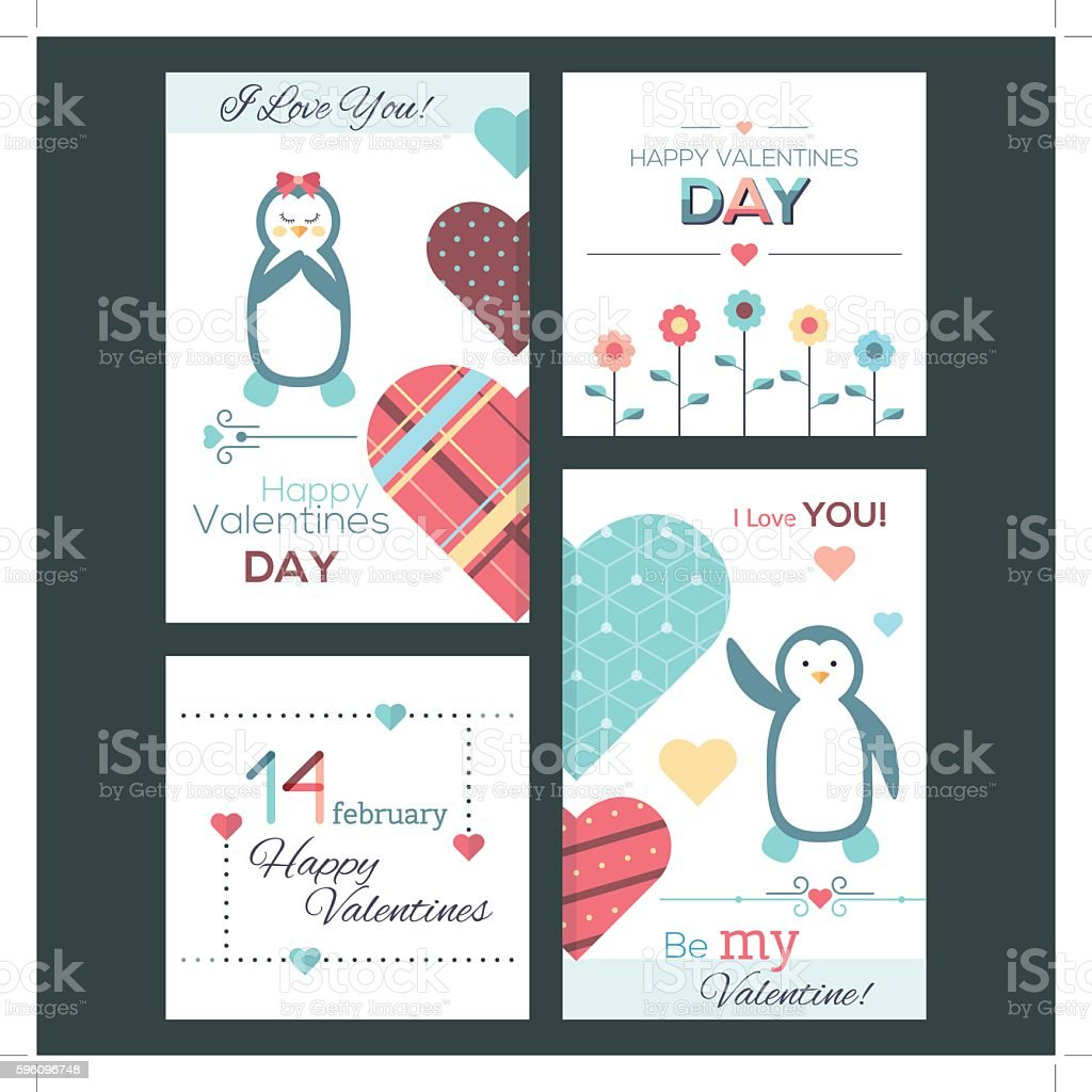 Set of flat design Happy Valentine Day greeting cards and royalty-free set of flat design happy valentine day greeting cards and stock vector art & more images of abstract