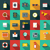 Set of Flat Design Hotel Icons with Side Shadow