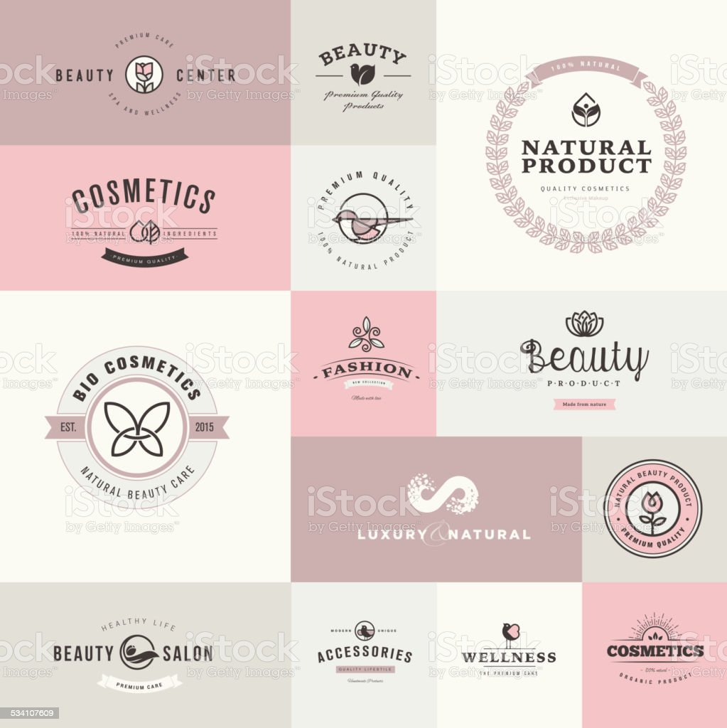 Set of flat design icons for beauty and cosmetics vector art illustration