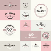 Set of flat design icons for beauty and cosmetics