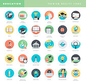 Set of flat design icons for education