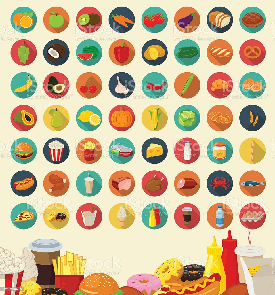Set of flat design icons for food and drink. Vector Lizenzfreies set of flat design icons for food and drink vector stock vektor art und mehr bilder von abstrakt