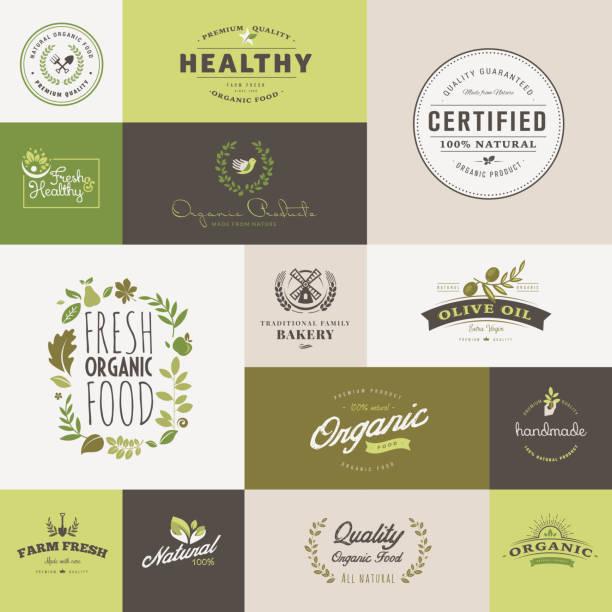 Conjunto de diseño plano iconos para alimentos orgánicos y bebida - ilustración de arte vectorial