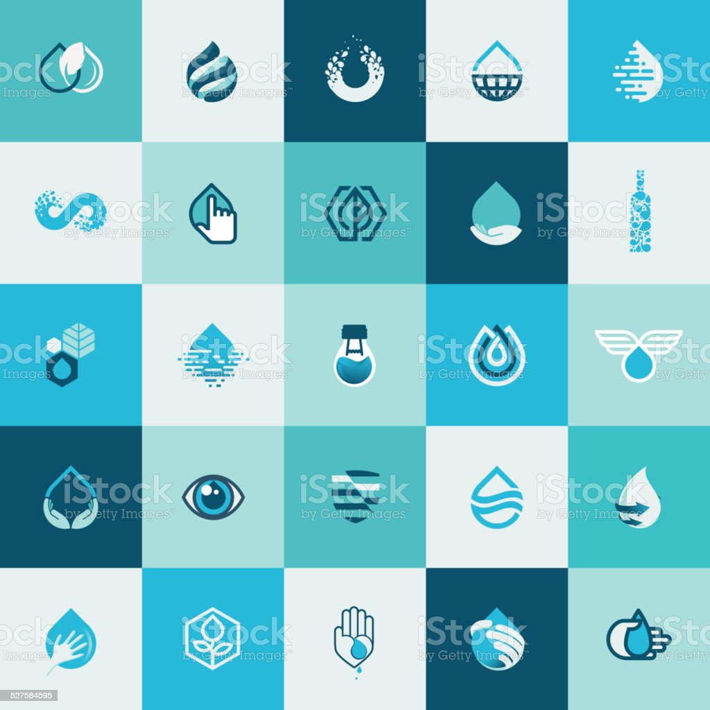 Set of flat design icons for water and nature vector art illustration