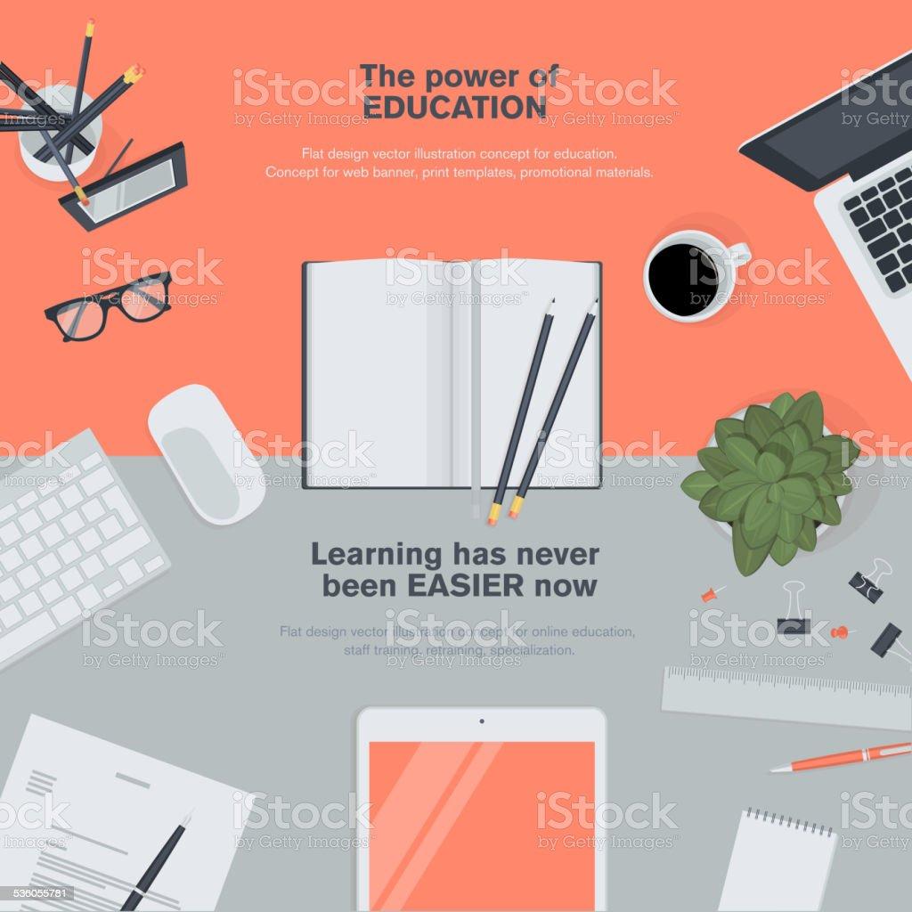 Set of flat design illustration concept for education vector art illustration