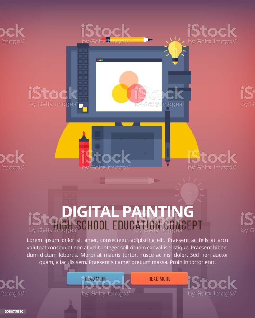 Set Of Flat Design Illustration Concepts For Graphic And Digital Painting Education Knowledge