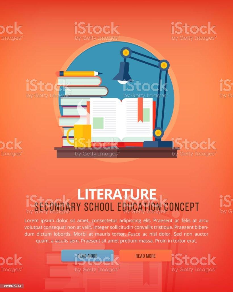 Conjunto de conceitos de ilustração design plano para a literatura. Ideias de educação e conhecimento. Arte de eloquência e oratória. - ilustração de arte em vetor