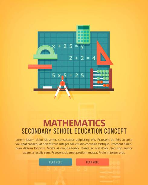 set of flat design illustration concepts for mathematics. education and knowledge ideas. mathematic science. concepts for web banner and promotional material. - math class stock illustrations, clip art, cartoons, & icons